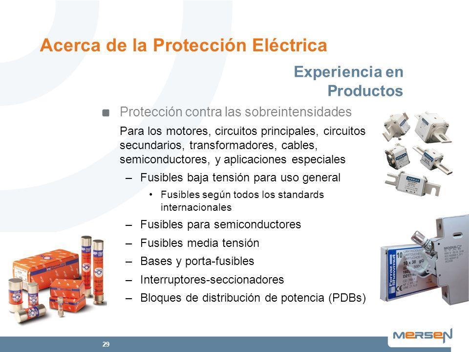 29 Protección contra las sobreintensidades Para los motores, circuitos principales, circuitos secundarios, transformadores, cables, semiconductores, y