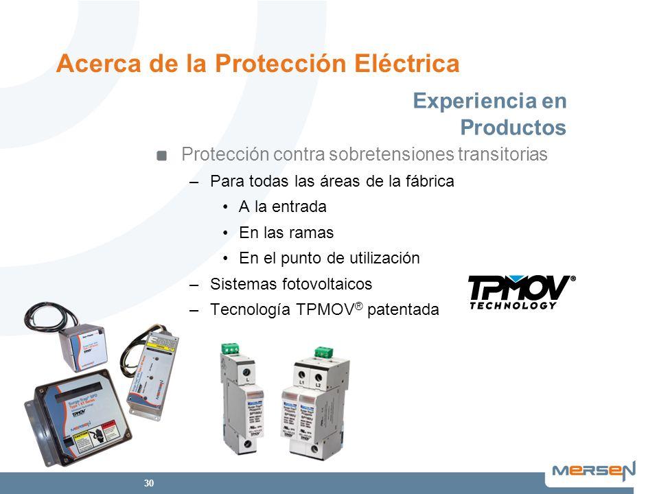 30 Protección contra sobretensiones transitorias –Para todas las áreas de la fábrica A la entrada En las ramas En el punto de utilización –Sistemas fo
