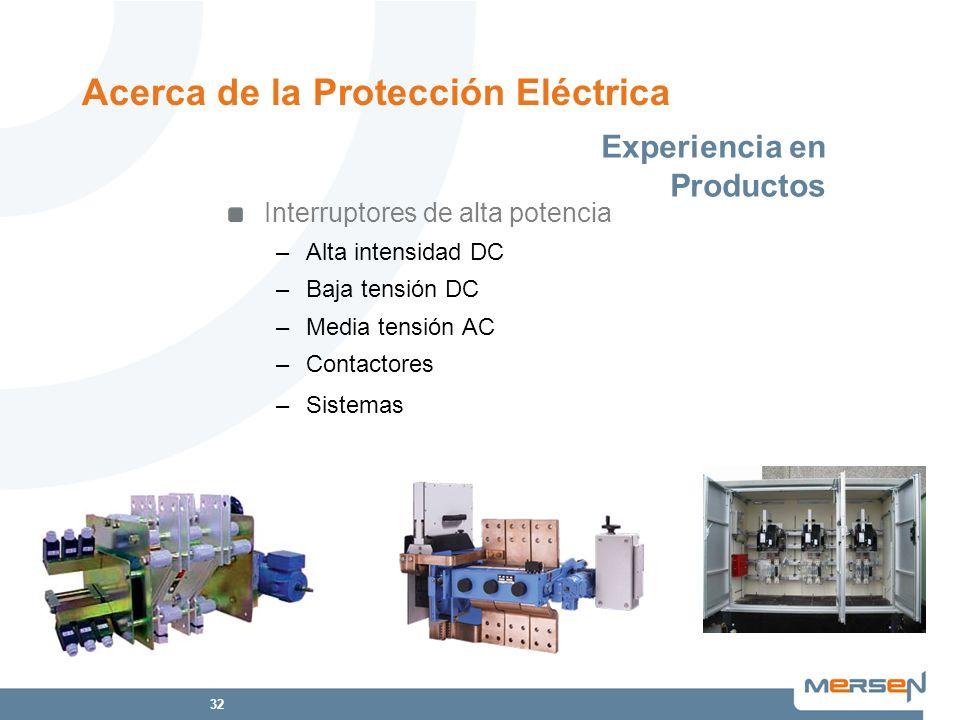 32 Interruptores de alta potencia –Alta intensidad DC –Baja tensión DC –Media tensión AC –Contactores –Sistemas Acerca de la Protección Eléctrica Expe
