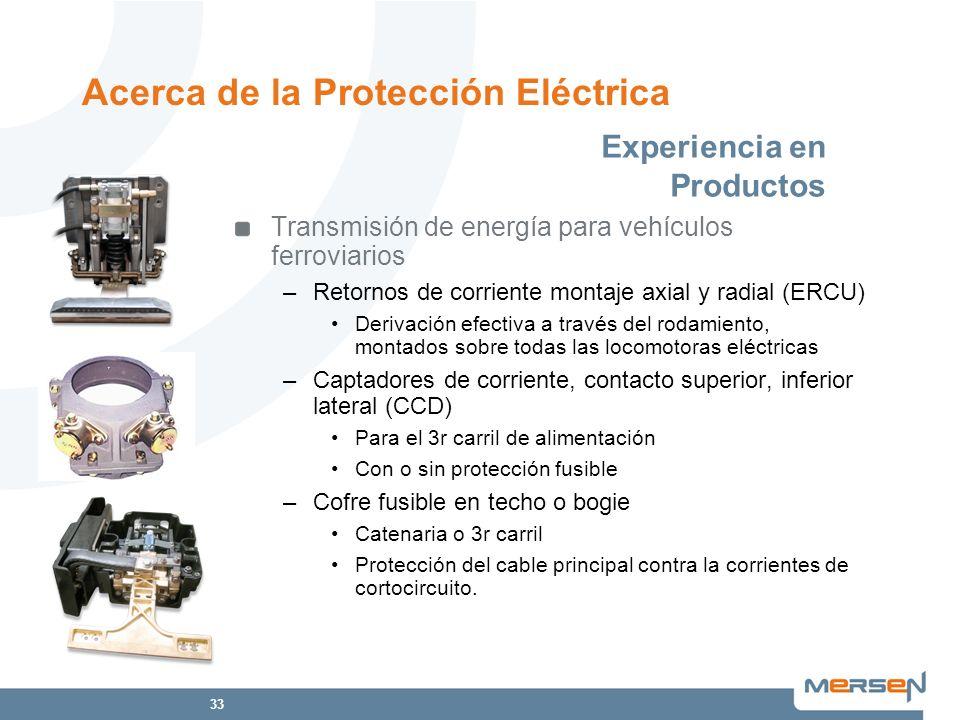 33 Transmisión de energía para vehículos ferroviarios –Retornos de corriente montaje axial y radial (ERCU) Derivación efectiva a través del rodamiento