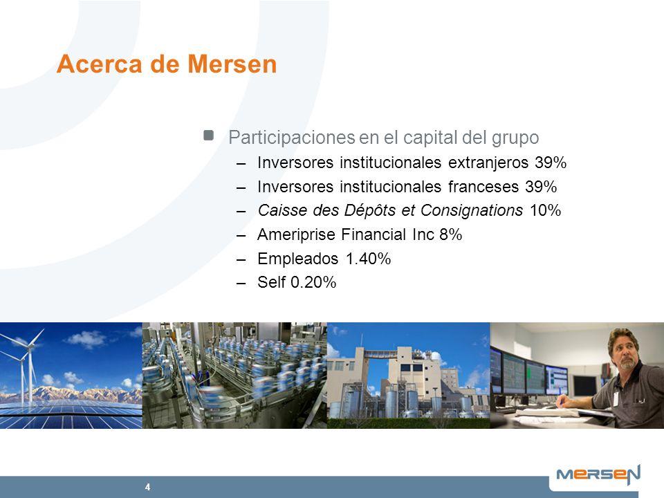 4 Participaciones en el capital del grupo –Inversores institucionales extranjeros 39% –Inversores institucionales franceses 39% –Caisse des Dépôts et