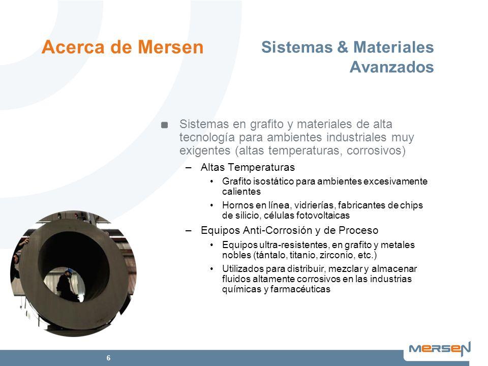6 Sistemas & Materiales Avanzados Sistemas en grafito y materiales de alta tecnología para ambientes industriales muy exigentes (altas temperaturas, c