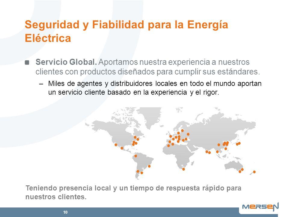 10 Servicio Global. Aportamos nuestra experiencia a nuestros clientes con productos diseñados para cumplir sus estándares. –Miles de agentes y distrib