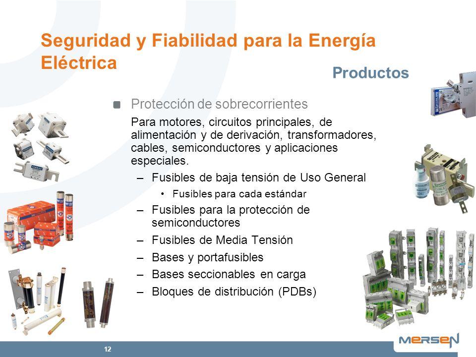 12 Protección de sobrecorrientes Para motores, circuitos principales, de alimentación y de derivación, transformadores, cables, semiconductores y apli