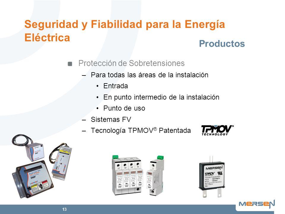 13 Protección de Sobretensiones –Para todas las áreas de la instalación Entrada En punto intermedio de la instalación Punto de uso –Sistemas FV –Tecno