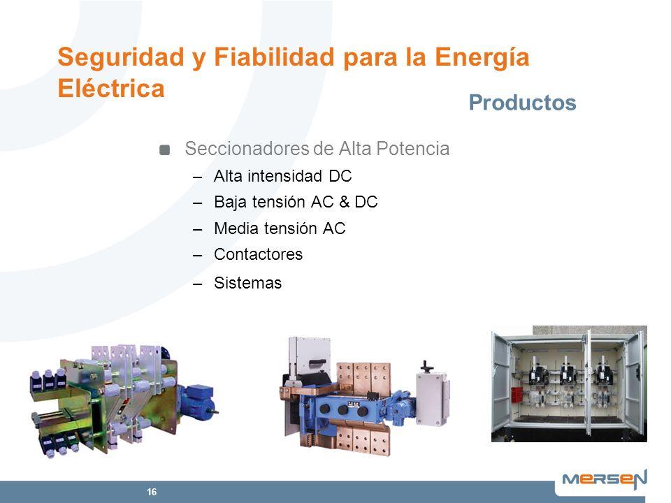 16 Seccionadores de Alta Potencia –Alta intensidad DC –Baja tensión AC & DC –Media tensión AC –Contactores –Sistemas Productos Seguridad y Fiabilidad