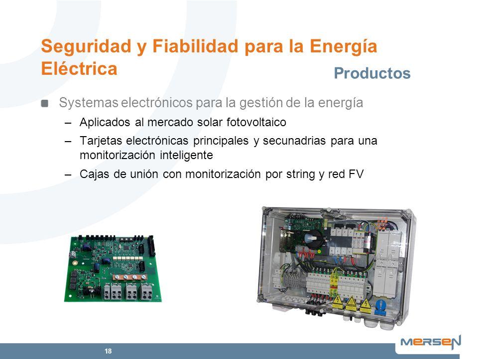 18 Seguridad y Fiabilidad para la Energía Eléctrica Systemas electrónicos para la gestión de la energía –Aplicados al mercado solar fotovoltaico –Tarj