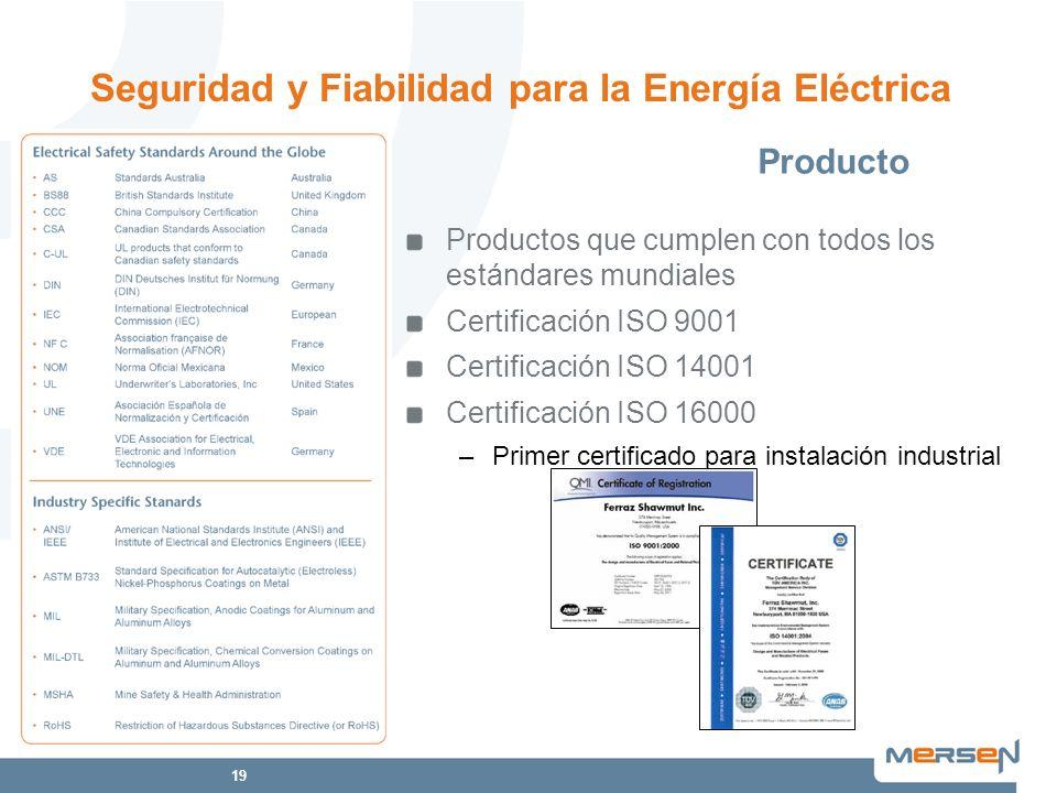 19 Productos que cumplen con todos los estándares mundiales Certificación ISO 9001 Certificación ISO 14001 Certificación ISO 16000 –Primer certificado