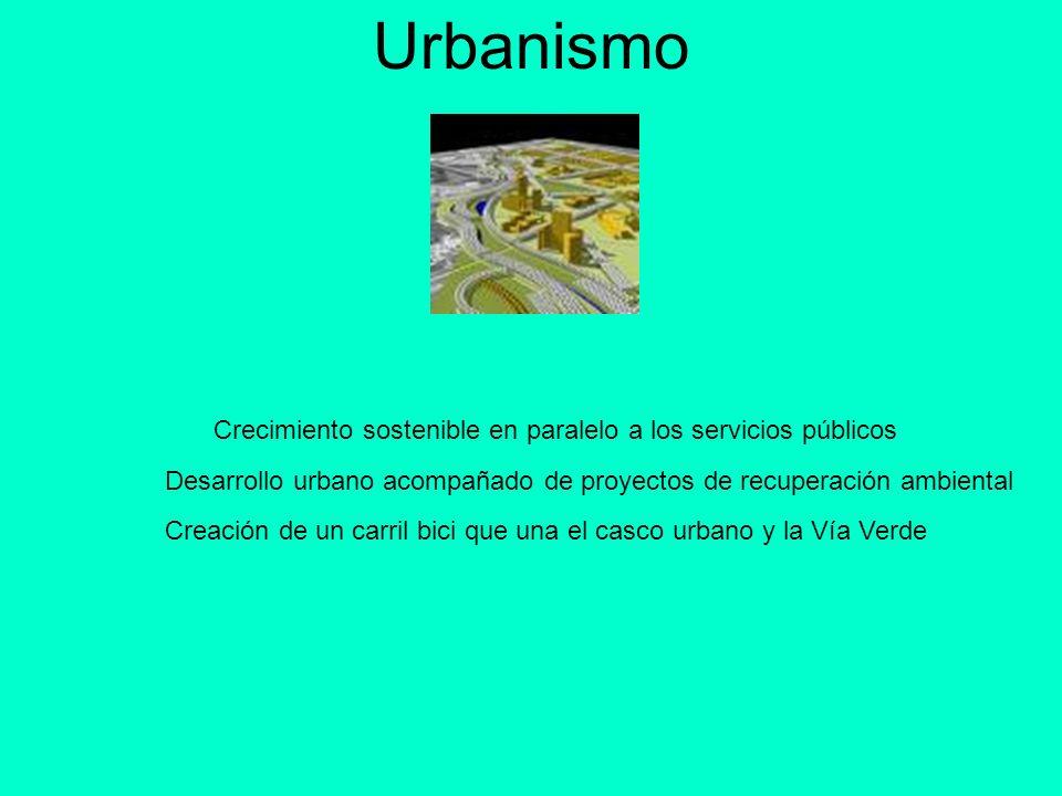 Urbanismo Crecimiento sostenible en paralelo a los servicios públicos Desarrollo urbano acompañado de proyectos de recuperación ambiental Creación de