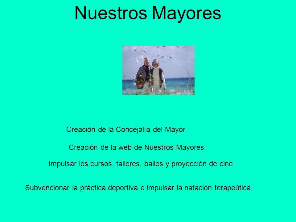 Nuestros Mayores Creación de la Concejalía del Mayor Creación de la web de Nuestros Mayores Impulsar los cursos, talleres, bailes y proyección de cine