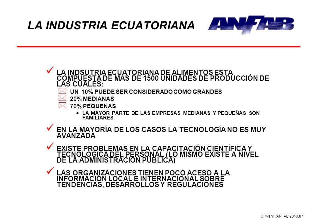 C. Wahli /ANFAB 2013.07 LA INDUSTRIA ECUATORIANA LA INDSUTRIA ECUATORIANA DE ALIMENTOS ESTA COMPUESTA DE MÁS DE 1500 UNIDADES DE PRODUCCIÓN DE LAS CUA