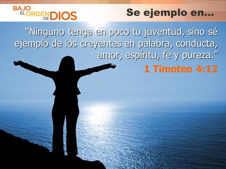 © 2013 Todos los derechos reservados ® Bajo el Orden de Dios es una marca registrada Se ejemplo en… Ninguno tenga en poco tu juventud, sino sé ejemplo