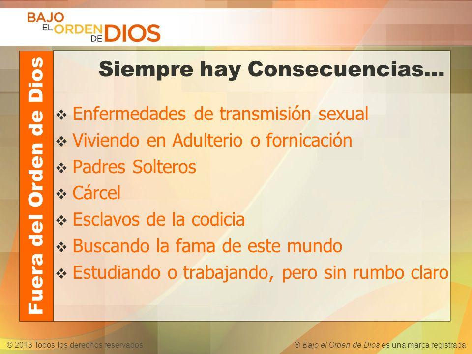 © 2013 Todos los derechos reservados ® Bajo el Orden de Dios es una marca registrada Siempre hay Consecuencias… Enfermedades de transmisión sexual Viv
