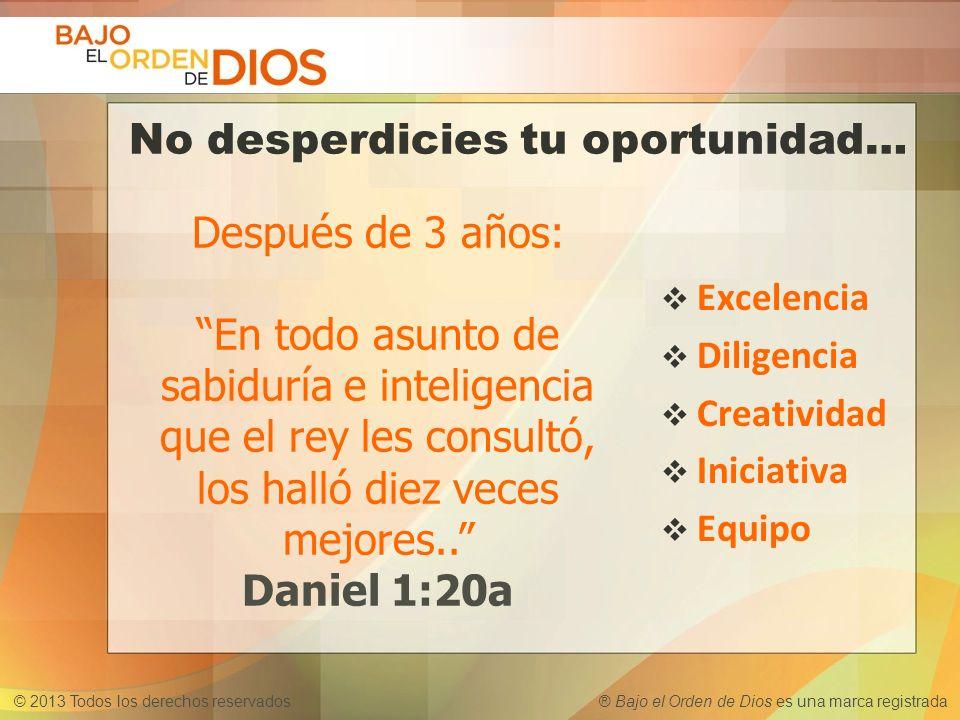 © 2013 Todos los derechos reservados ® Bajo el Orden de Dios es una marca registrada No desperdicies tu oportunidad… Excelencia Diligencia Creatividad