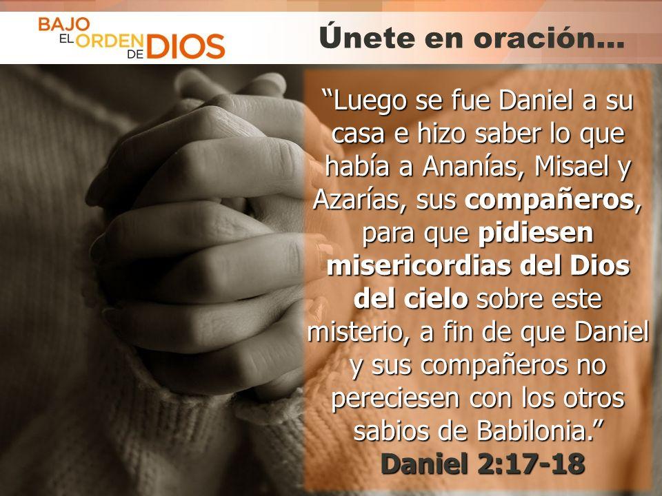 © 2013 Todos los derechos reservados ® Bajo el Orden de Dios es una marca registrada Únete en oración… Luego se fue Daniel a su casa e hizo saber lo q