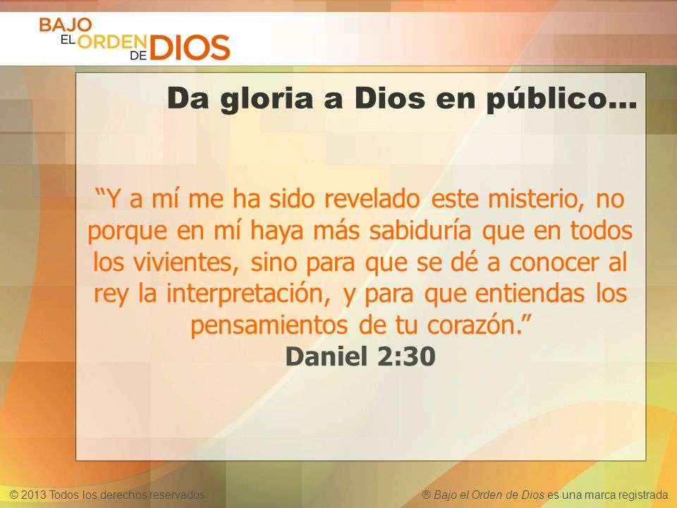 © 2013 Todos los derechos reservados ® Bajo el Orden de Dios es una marca registrada Da gloria a Dios en público… Y a mí me ha sido revelado este mist