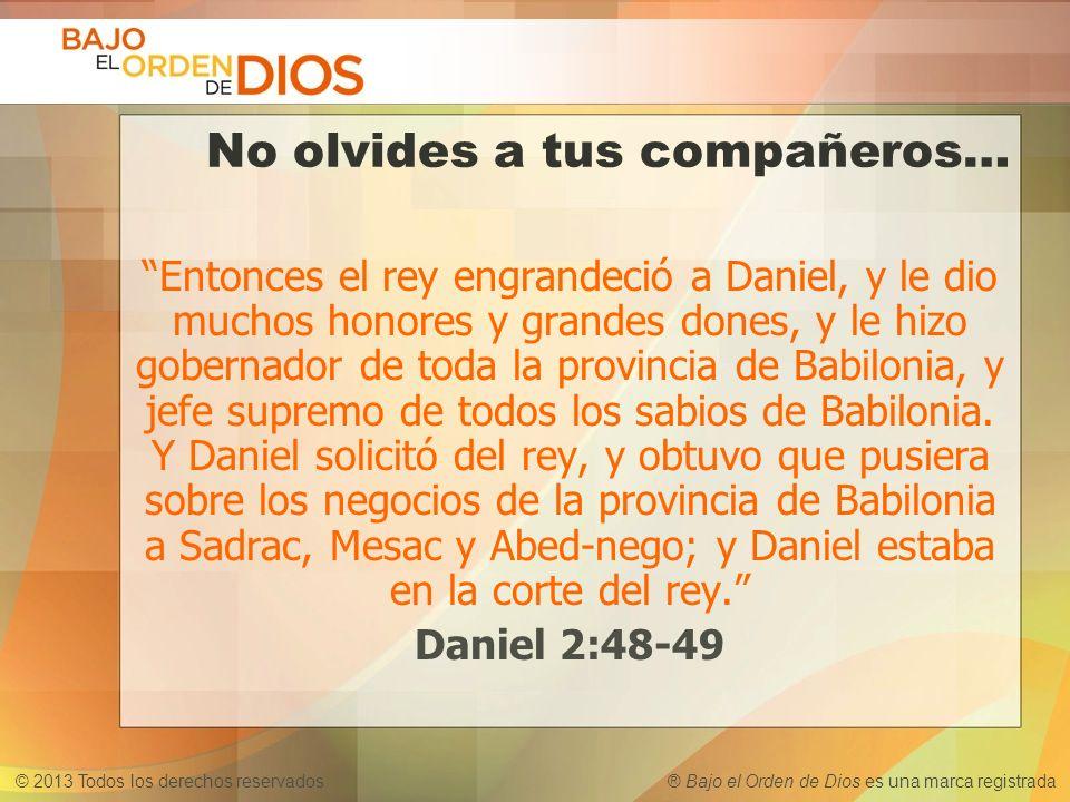 © 2013 Todos los derechos reservados ® Bajo el Orden de Dios es una marca registrada No olvides a tus compañeros… Entonces el rey engrandeció a Daniel