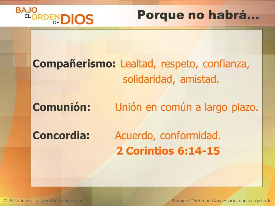 © 2013 Todos los derechos reservados ® Bajo el Orden de Dios es una marca registrada Porque no habrá… Compañerismo: Lealtad, respeto, confianza, solid