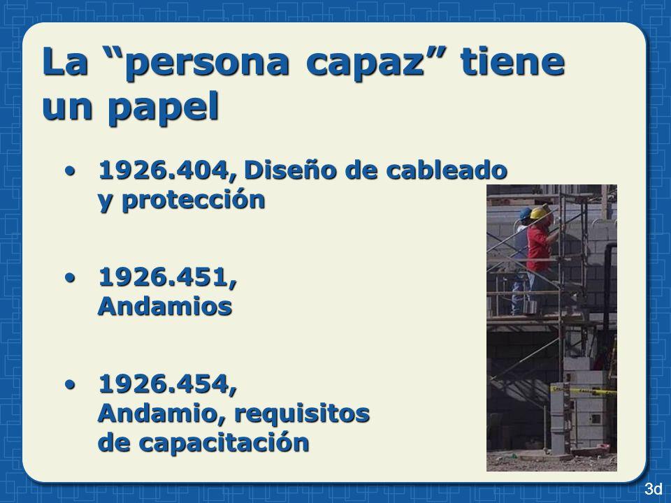 La persona capaz tiene un papel 1926.404, Diseño de cableado y protección1926.404, Diseño de cableado y protección 1926.451, Andamios1926.451, Andamio