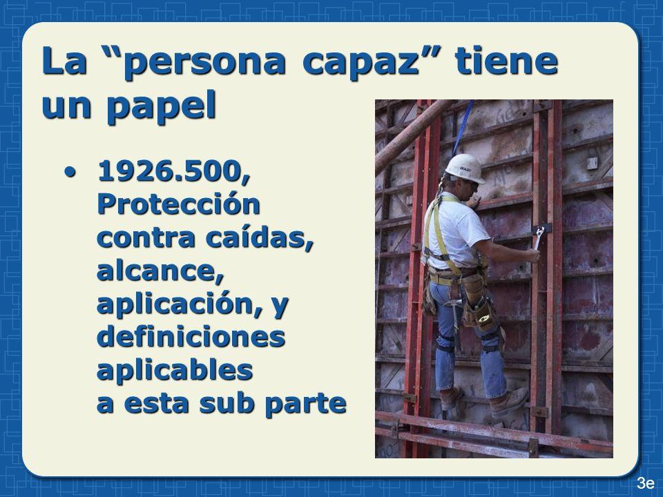 La persona capaz tiene un papel 1926.500, Protección contra caídas, alcance, aplicación, y definiciones aplicables a esta sub parte1926.500, Protecció