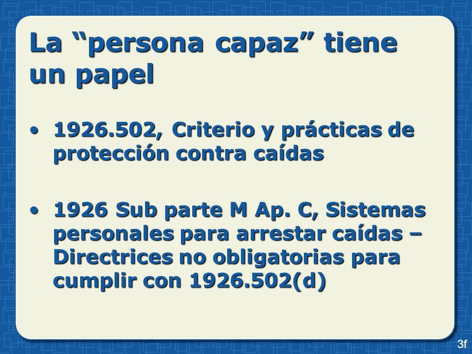 La persona capaz tiene un papel 1926.502, Criterio y prácticas de protección contra caídas1926.502, Criterio y prácticas de protección contra caídas 1