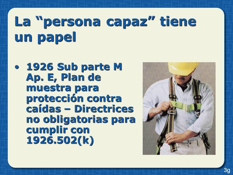 La persona capaz tiene un papel 1926 Sub parte M Ap. E, Plan de muestra para protección contra caídas – Directrices no obligatorias para cumplir con 1