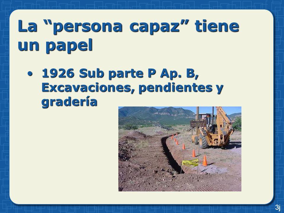 La persona capaz tiene un papel 1926 Sub parte P Ap. B, Excavaciones, pendientes y gradería1926 Sub parte P Ap. B, Excavaciones, pendientes y gradería