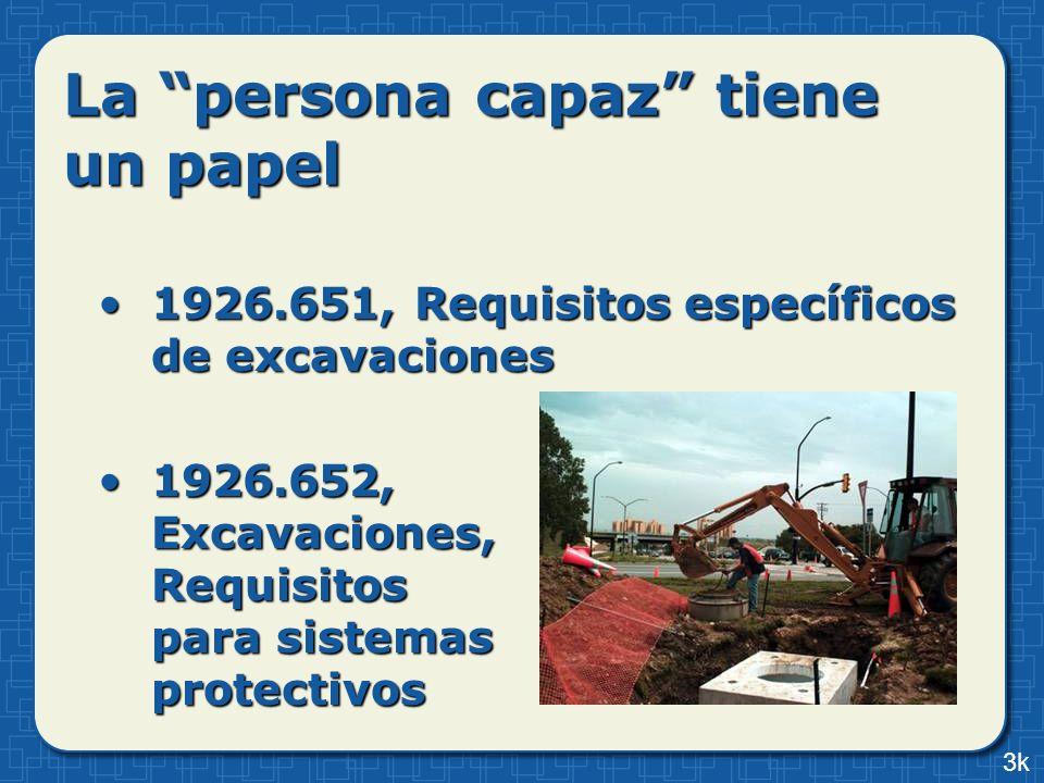 La persona capaz tiene un papel 1926.651, Requisitos específicos de excavaciones1926.651, Requisitos específicos de excavaciones 1926.652, Excavacione
