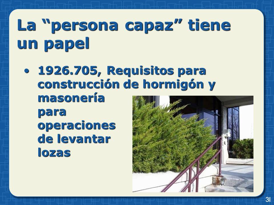 La persona capaz tiene un papel 1926.705, Requisitos para construcción de hormigón y masonería para operaciones de levantar lozas1926.705, Requisitos