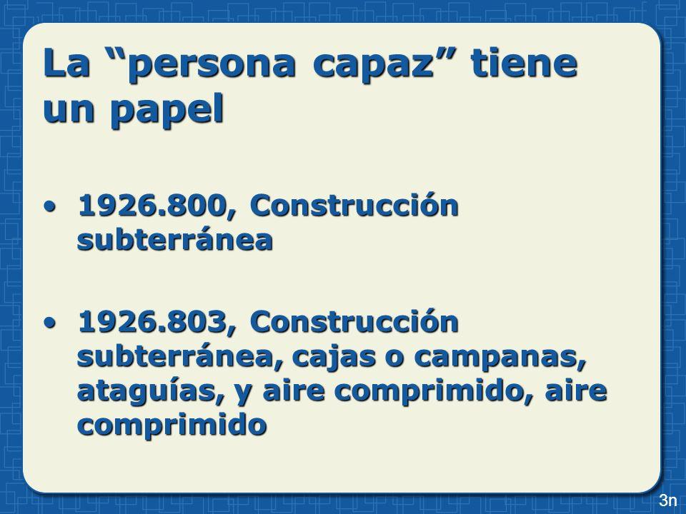 La persona capaz tiene un papel 1926.800, Construcción subterránea1926.800, Construcción subterránea 1926.803, Construcción subterránea, cajas o campa