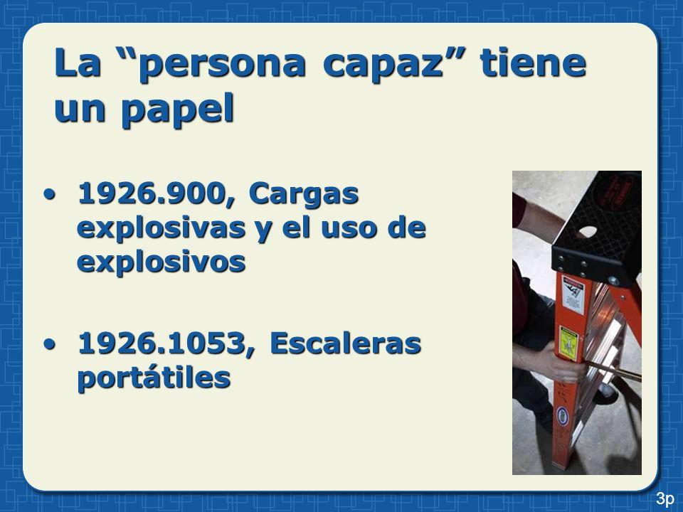 La persona capaz tiene un papel 1926.900, Cargas explosivas y el uso de explosivos1926.900, Cargas explosivas y el uso de explosivos 1926.1053, Escale