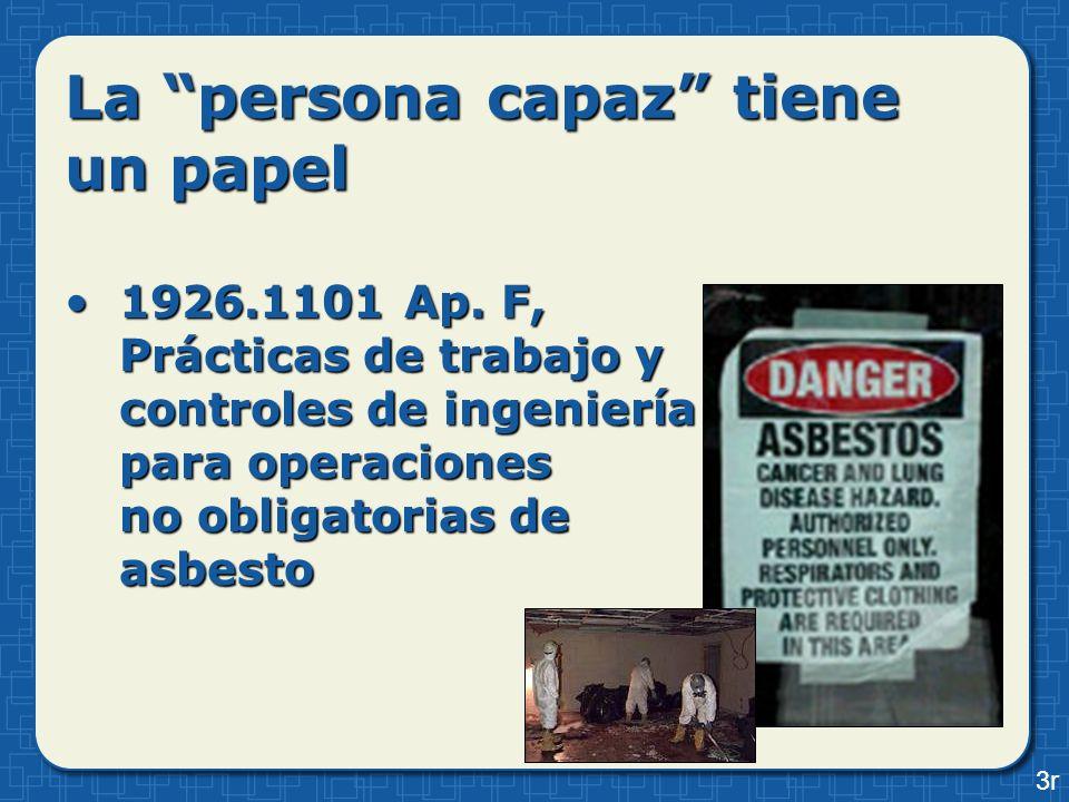 La persona capaz tiene un papel 1926.1101 Ap. F, Prácticas de trabajo y controles de ingeniería para operaciones no obligatorias de asbesto1926.1101 A