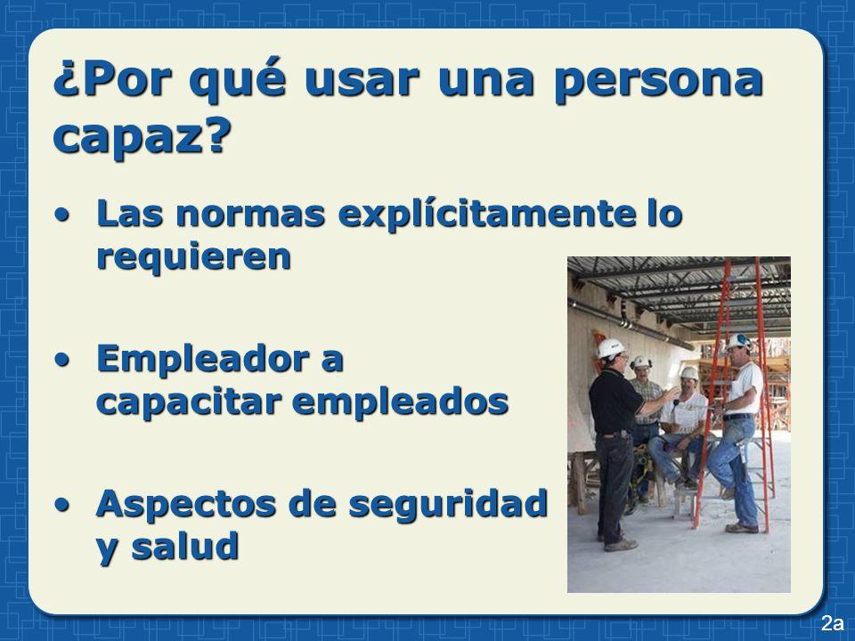 ¿Por qué usar una persona capaz? Las normas explícitamente lo requierenLas normas explícitamente lo requieren Empleador a capacitar empleadosEmpleador