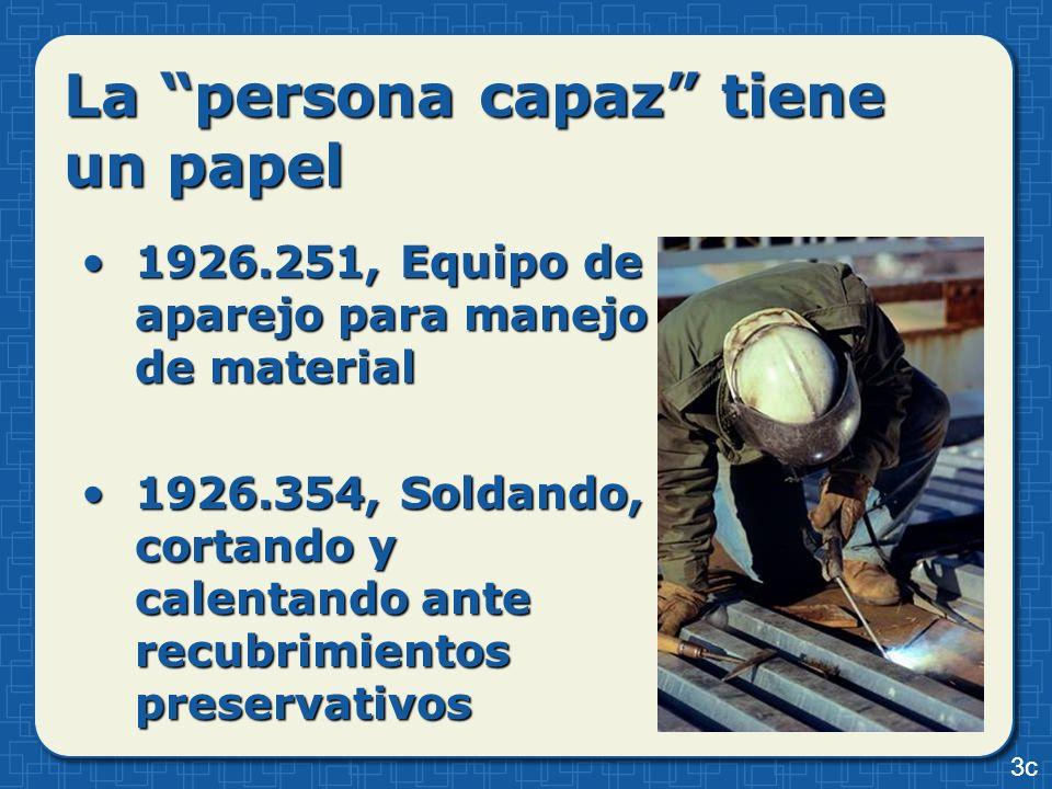 La persona capaz tiene un papel 1926.251, Equipo de aparejo para manejo de material1926.251, Equipo de aparejo para manejo de material 1926.354, Solda