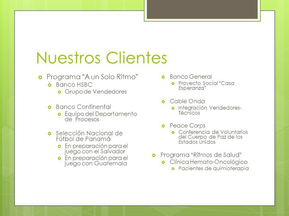 Nuestros Clientes Programa A un Solo Ritmo Banco HSBC Grupo de Vendedores Banco Continental Equipo del Departamento de Procesos Selección Nacional de