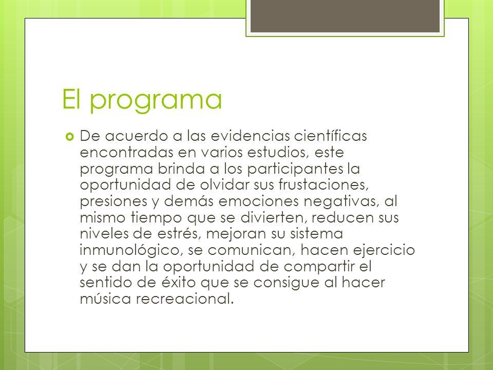 El programa De acuerdo a las evidencias científicas encontradas en varios estudios, este programa brinda a los participantes la oportunidad de olvidar