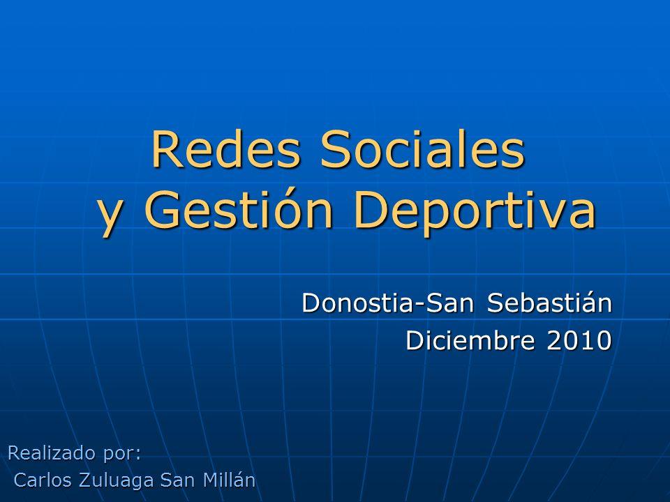 Redes Sociales y Gestión Deportiva Donostia-San Sebastián Diciembre 2010 Realizado por: Carlos Zuluaga San Millán Carlos Zuluaga San Millán