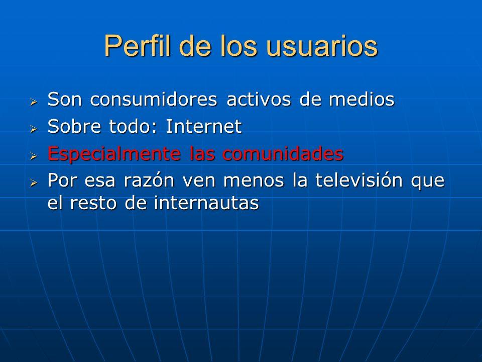 Perfil de los usuarios Son consumidores activos de medios Son consumidores activos de medios Sobre todo: Internet Sobre todo: Internet Especialmente l