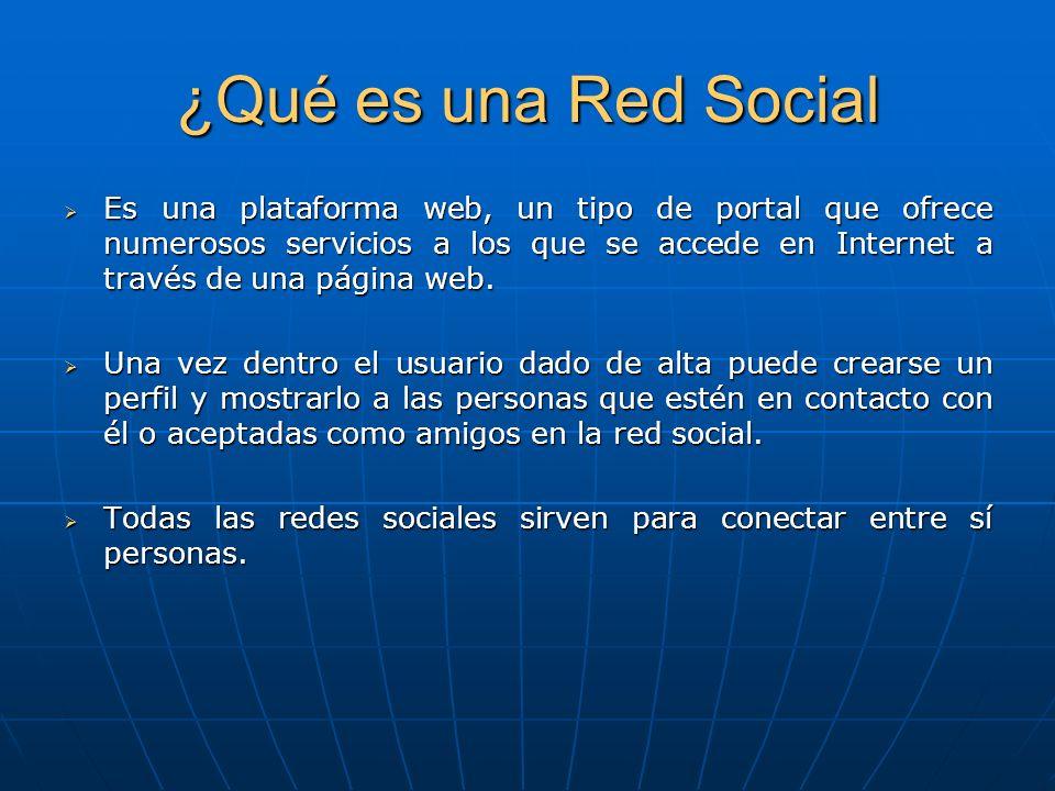 ¿Qué es una Red Social Es una plataforma web, un tipo de portal que ofrece numerosos servicios a los que se accede en Internet a través de una página