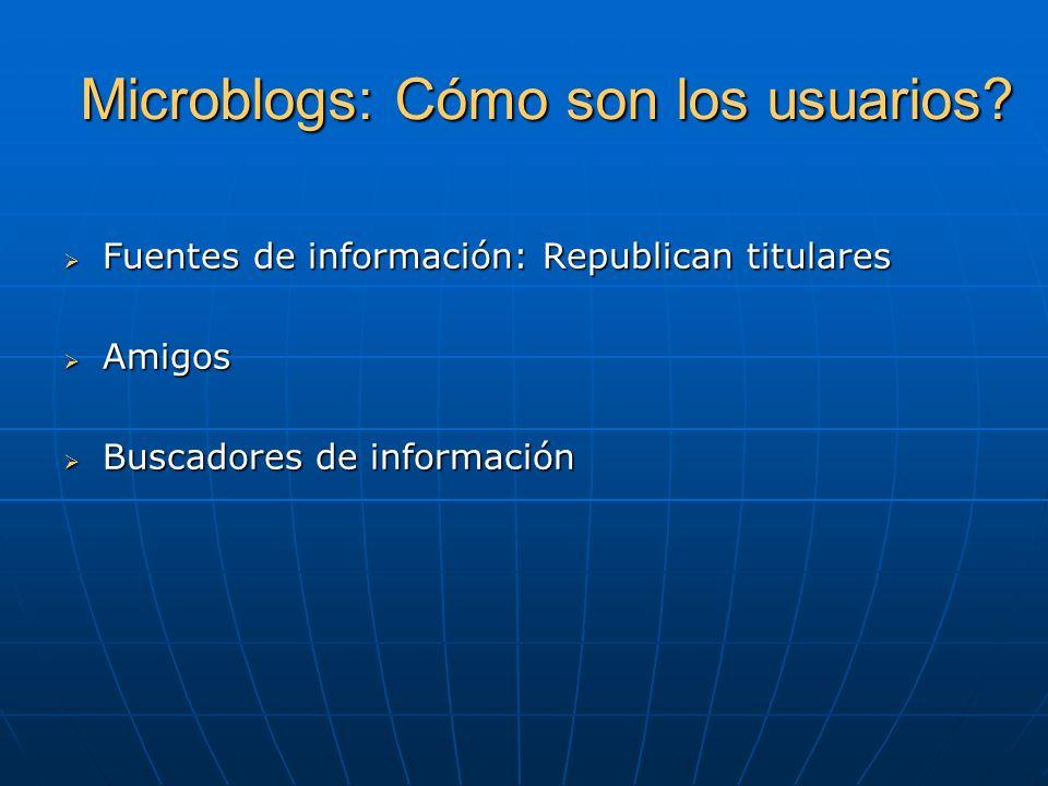 Microblogs: Cómo son los usuarios? Fuentes de información: Republican titulares Fuentes de información: Republican titulares Amigos Amigos Buscadores