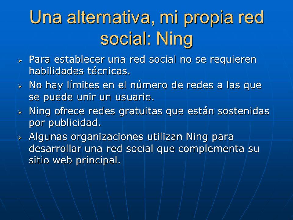 Una alternativa, mi propia red social: Ning Para establecer una red social no se requieren habilidades técnicas. Para establecer una red social no se