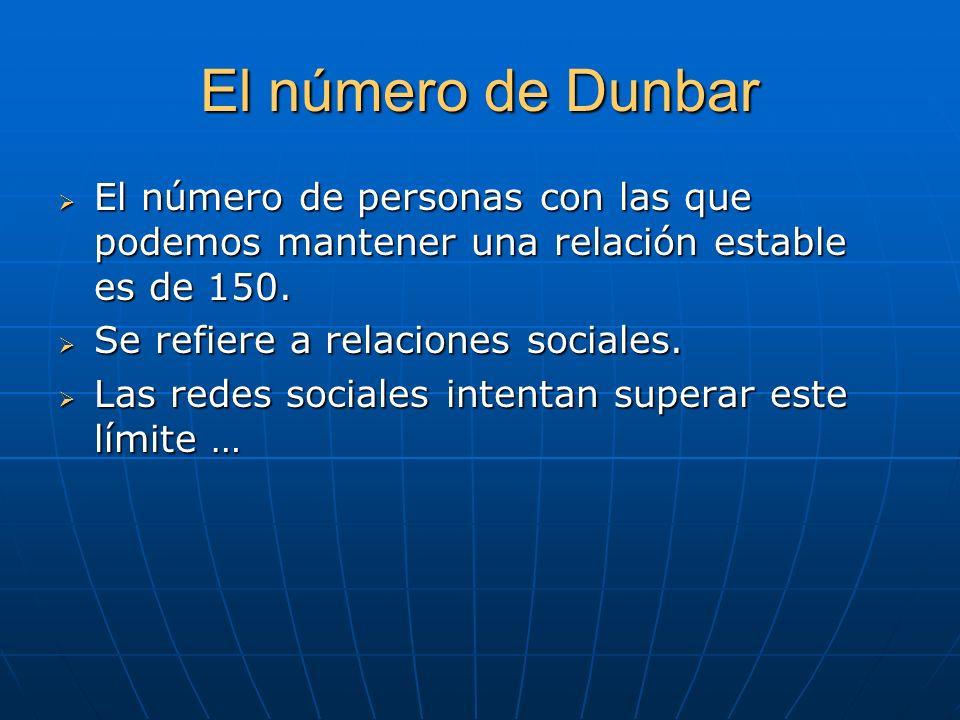 El número de Dunbar El número de personas con las que podemos mantener una relación estable es de 150. El número de personas con las que podemos mante