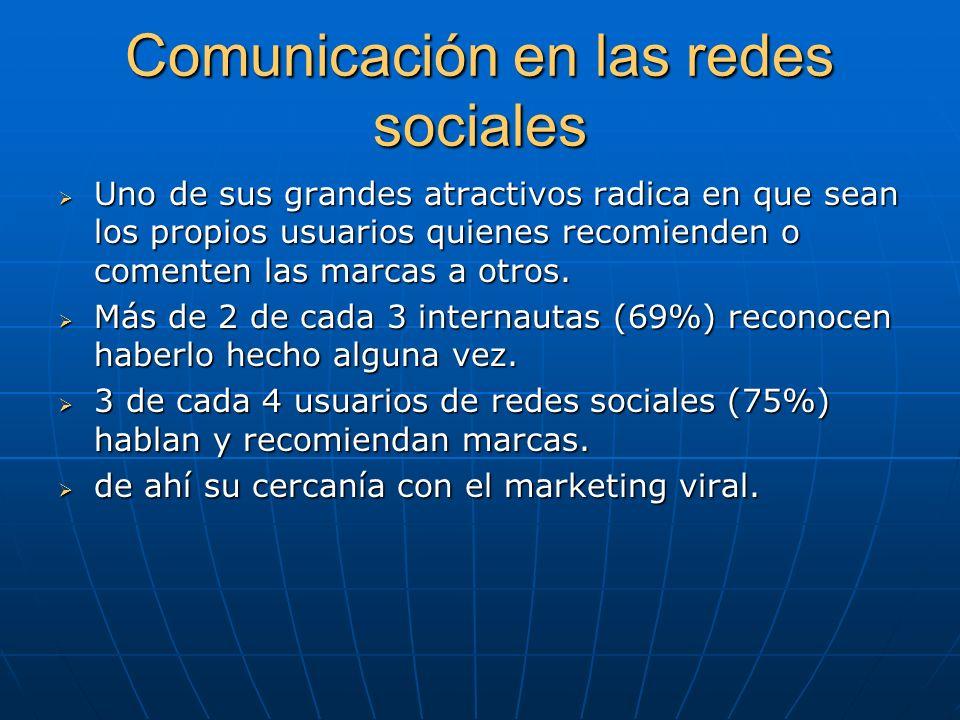Comunicación en las redes sociales Uno de sus grandes atractivos radica en que sean los propios usuarios quienes recomienden o comenten las marcas a o