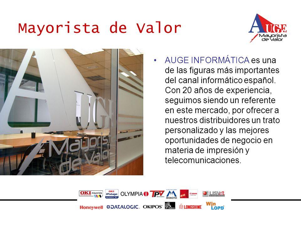 Mayorista de Valor AUGE INFORMÁTICA es una de las figuras más importantes del canal informático español. Con 20 años de experiencia, seguimos siendo u