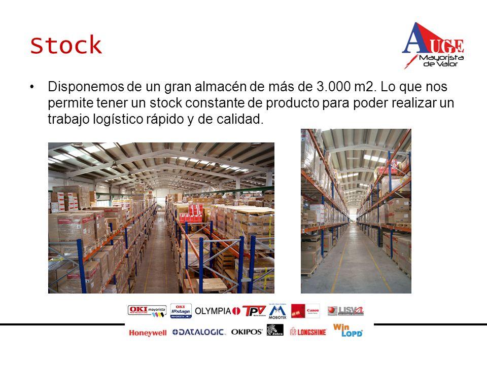 Stock Disponemos de un gran almacén de más de 3.000 m2. Lo que nos permite tener un stock constante de producto para poder realizar un trabajo logísti