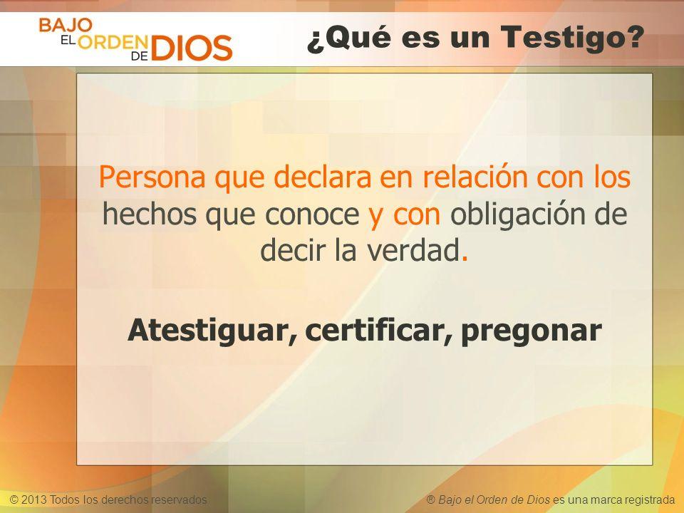 © 2013 Todos los derechos reservados ® Bajo el Orden de Dios es una marca registrada ¿Qué es un Testigo? Persona que declara en relación con los hecho