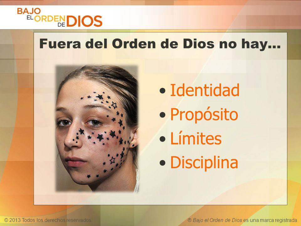 © 2013 Todos los derechos reservados ® Bajo el Orden de Dios es una marca registrada Fuera del Orden de Dios no hay… Identidad Propósito Límites Disci