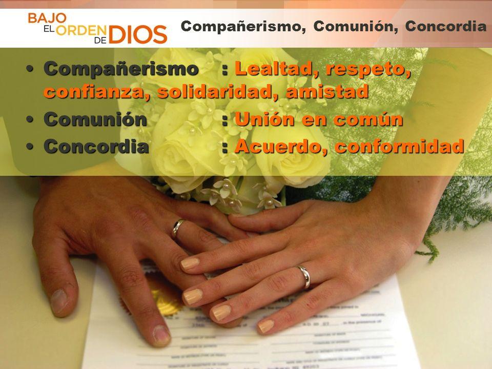 © 2013 Todos los derechos reservados ® Bajo el Orden de Dios es una marca registrada Compañerismo, Comunión, Concordia Compañerismo: Lealtad, respeto,