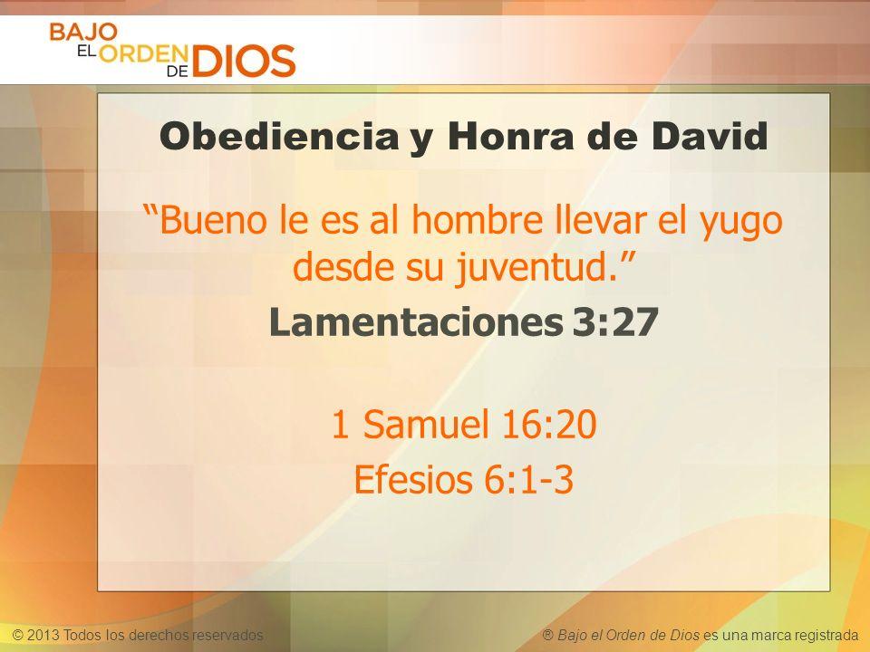 © 2013 Todos los derechos reservados ® Bajo el Orden de Dios es una marca registrada Obediencia y Honra de David Bueno le es al hombre llevar el yugo