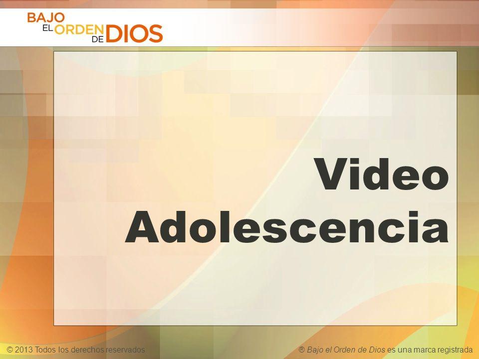 © 2013 Todos los derechos reservados ® Bajo el Orden de Dios es una marca registrada Video Adolescencia